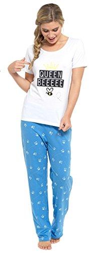 Ladies Pajama de nuit en coton à manches courtes Blanc