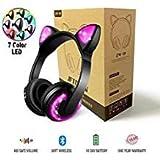 Jftown wireless Bluetooth LED Cat Ear per ragazze, 7-colore che cambia colore Glowing over Cosplay orecchie di gatto cuffie da gioco con microfono per smartphone PC tablet