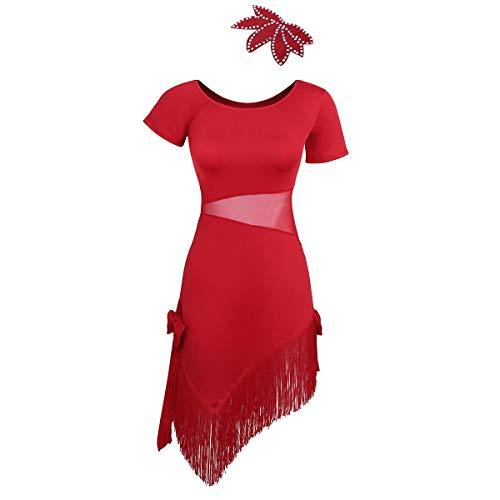 Agoky Damen Kleider Kurzarm Rundhals Flapper Minikleid Mesh Spleiß Latein Tanzkleid asymmetrisch Fransen Rock Quasten mit Haarschmuck Rot ()
