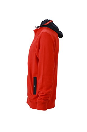 James & Nicholson Herren Hooded Jacket Sweatshirt Rot (Tomato/Navy)