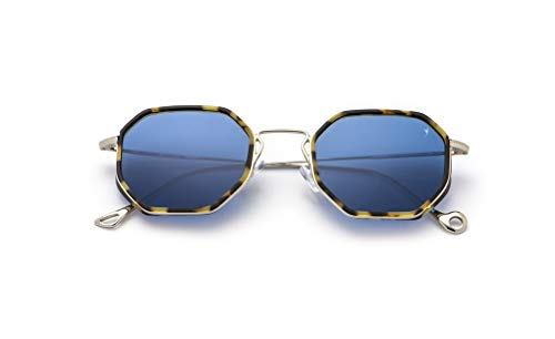 Eyepetizer occhiali da sole unisex modello tommaso colore asta argento montatura light havana lente blu con naselli