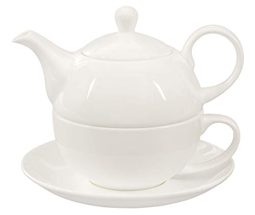 Buchensee Tea for one 400ml. Teeset aus Fine Bone China in fein-cremigem Weiß. (Feine China-tee-tassen-set)