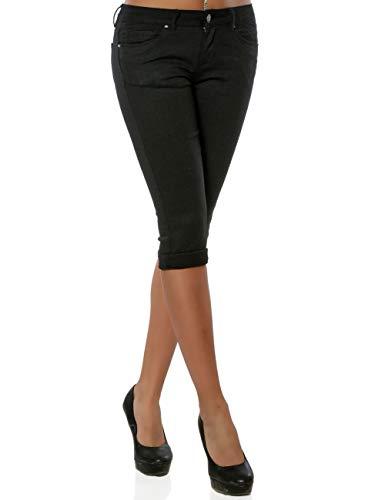 Daleus Damen High-Waist Capri Jeans Kurze Sommerhose DA 15990 Farbe Schwarz Größe XL / 42