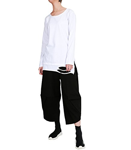 ELLAZHU Femme À La Mode Printemps Trous Blancs Manches Longues T Shirt GY1502 A Blanc