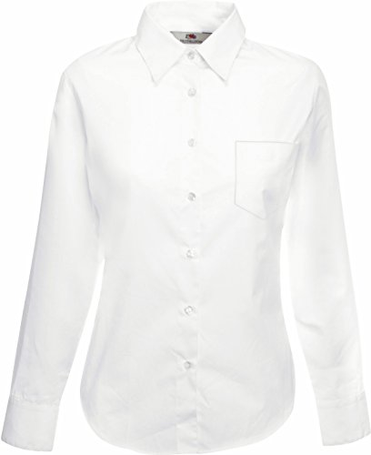 Fruit of the Loom Popelin Langarm-Bluse 65-012-0 XL,White