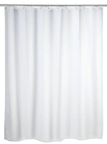 WENKO 19146100 Duschvorhang Uni Weiß - waschbar, mit 12 Duschvorhangringen, 100 % Polyester, Weiß