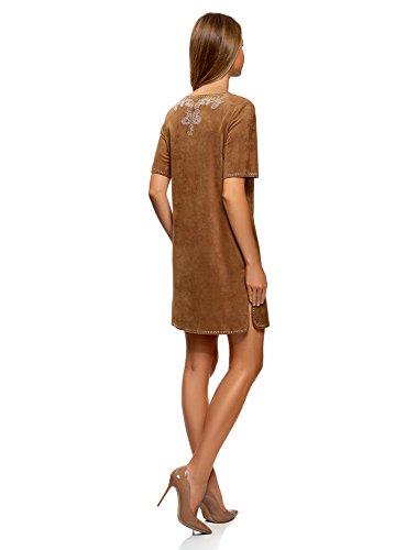 oodji Ultra Damen Kleid in Wildleder-Optik mit Metall-Strasssteinen dekoriert Braun (3700N)