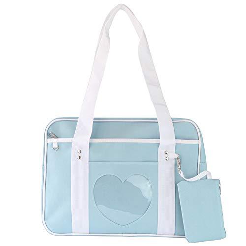 Ita Bag Herzform Fenster japanische Schule Handtasche große jk Tasche mädchen Duffle geldbörse Anime Schulranzen für Lolita Comic DIY Cosplay blau