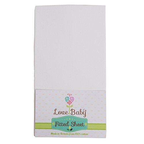 Premium Bio Soft weiß Baumwolle Bettlaken für Babybett, Made To Fit The Babylo Laufstall Cozi Sleeper