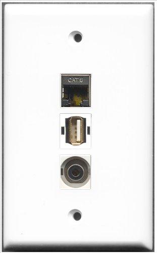 RiteAV–1Port USB A-A + 1Port, geschirmt, Cat. 6Ethernet und 1Anschluss, 3,5mm-Platte