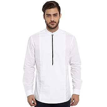 Mufti White Solid Mandarin Collar Full Sleeves Cotton Shirt