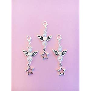 3 Perlenengel Anhänger mit wunderschöner irisierender Perle und Stern Charm, perfekt zum verschenken oder als Tisch Deko, Engel, Schutzengel, Acryl Metalllegierung, mit Engelsflügel, Angel