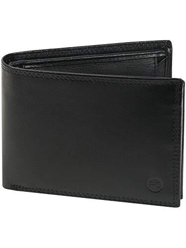 HC Herren Geldbörse Quer aus Büffel Nappa Leder RFID Schutz, Farben:schwarz