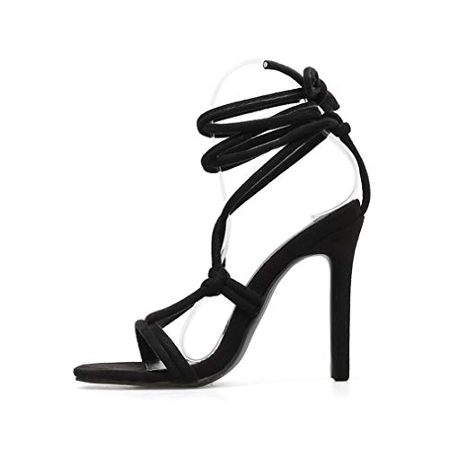 YAN Womens Ladies High Heel Ankle Tie Wrap Lace Up Strappy Sandal Shoes Stiletto Schuhe Hochzeitsschuhe Party Abend Black Gold,B,38 -