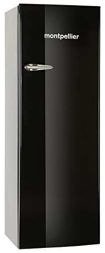 Montpellier MAB340K Retro Tall Fridge With Ice Box in Black