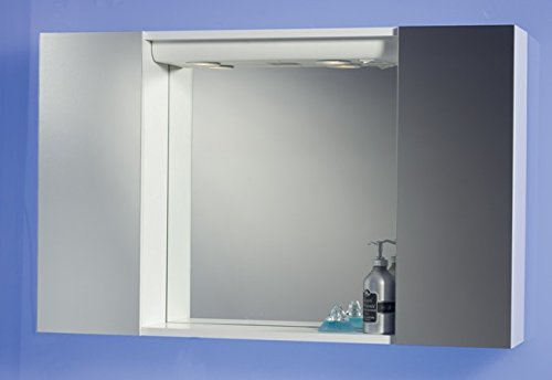 Specchiera Specchio Contenitore Bagno da 94x60x17 Colore Bianco con Ante a  Specchio 1 l