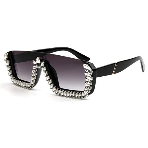 TIANKON Quadratische Sonnenbrille-Frauen-Damen-Kristallgroße Sonnenbrille-großer Glasrahmen für weibliches Uv400,A4