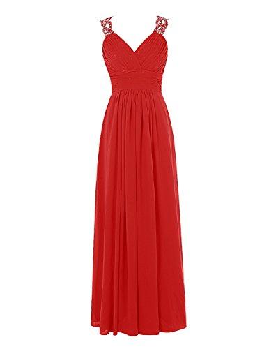 Find Dress Charmant Robe de Mariée Grande Taille Robe Demoiselle d'Honneur Femme Princesse/Fête Noel Femme Plissé Robe de Cocktail Soirée Dos Nu en Mousseline Rouge