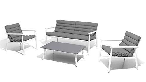 PEGANE Salon 4 pièces en Aluminium Coloris Blanc/Gris foncé