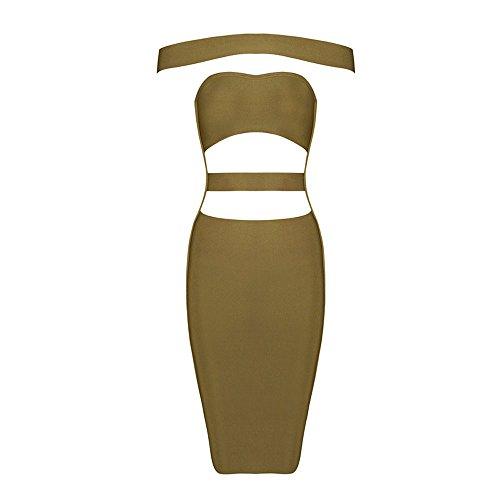 HLBandage Women's Sexy Off the Shoulder Cut Off Slash Neck Bodycon Bandage Dress esercito verde