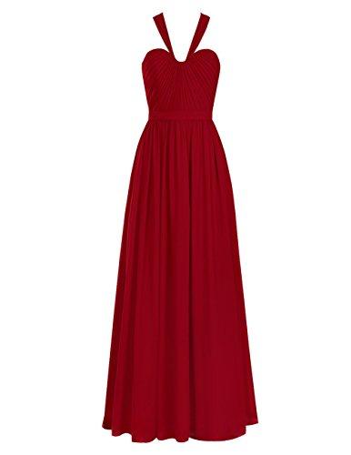 Dresstells Damen Elegant Herzausschnitt Brautjungferkleider Einfach Lang A-Linie Ballkleider Weiß