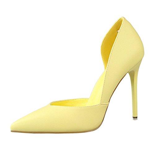 Minetom Mujer Primavera Dulce Clásico Caramelo Colors High Heel Shoes Stiletto Zapatos de Tacón Atractivo Pumps Court Shoes Amarillo EU 39