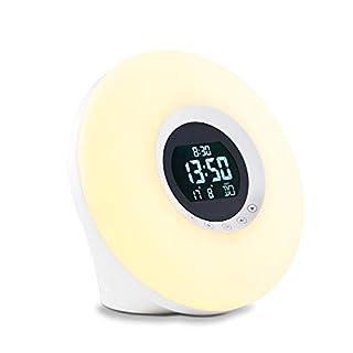 ADE Wake-Up Light CK 1718 (Tageslichtwecker mit Radio, Naturklängen, Schlummerfunktion, Stimmungsbeleuchtung in 7 Farben mit regulierbarer Helligkeit)