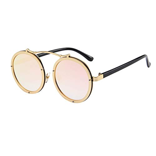 CANDLLY Brillen Damen, Kopfschmuck Zubehör Metall Flacher Spiegel für Männer und Frauen Persönlichkeit Brillengestell Trend Punk Wind Brillengestells Unisex Jahrgang Retro Mode Beiläufig Brille