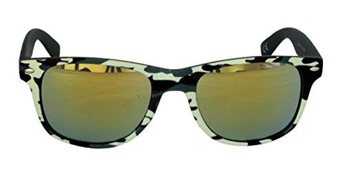 Foster Grant SGE 28 GRN FG119 Herren Abgerundetes rechteckiges, Way Shape, Full-Frame-Sonnenbrille Military Camouflage Print Kunststoff-Rahmen & Arme Grüner Spiegel UV400-Objektive 100% UV-Schutz CAT
