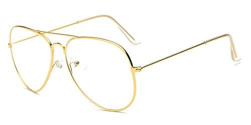BOZEVON Lentes Claro Anteojos Transparentes - Redondo Ultrafino Marco de Metal Gafas de Lectura Decoración Retro Gafas Para Hombres Mujeres Oro