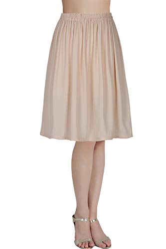 BEAUTELICATE Damen Unterrock Satin/Chiffon Halbrock Knielang Petticoat Crinoline Vintage Antistatisch Underskirt Hautfarbe L 50CM