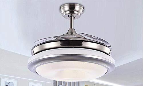 ZYY * Ventilatore a soffitto con lampada Camera da letto Modern Minimalist Stealth Fan Light Bluetooth Musica Ristoranti Fan Lampadari 42 pollici luce bianca Telecomando Illuminazione Lampade e Lanter