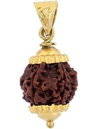 Shiv Ram Jyotish Kendra Brown Gold Plated 6 Face Rudraksha Pendant for Boy's