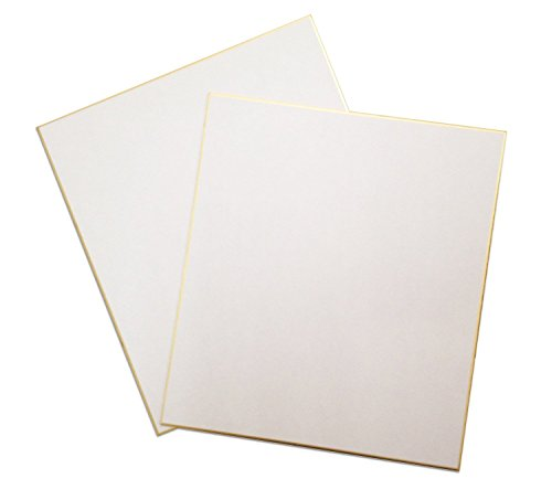 """Japan Art Shikishi Board Set of two 9.5 x 10.75"""" Gold Bordered for Japanese Art or Calligraphy (Pack of 2) Test"""