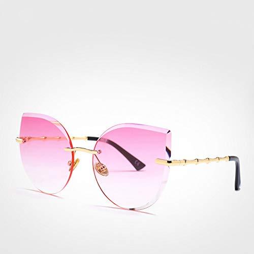 CCGKWW Coole Frauen Sonnenbrille Cat Eye Mode Fahrer Brille Mädchen Rosa Randlose Sonnenbrille Damen Uv400 Zonnebril Dames