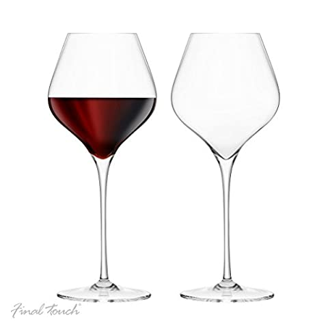 Final Touch 100% Lead-free Crystal Burgundy Wine Glasses Goblets Made with DuraSHIELD Titanium Reinforced for Increased Durability Tall 28 cm 700ml - Pack of 2