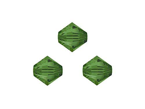 Swarovskiperlen, Doppelkegel, konisch, bicone, 5328, 4mm, 50 Stück, Fern Green, zum selbermachen von Ketten, Armbänder und Ohrringe, aus mehr als 50 Farben auswählen