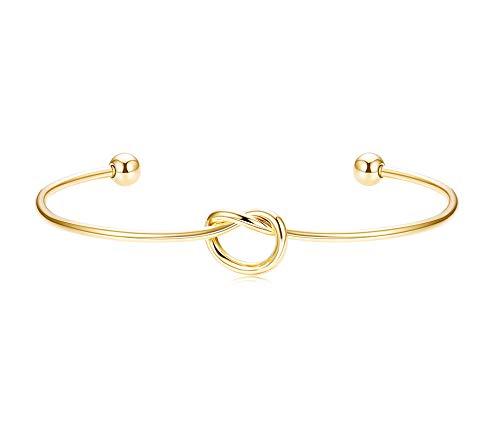 Yadoca 925er Sterling Silber Liebesknoten Armband für Frauen Mädchen Einfach Öffnen Manschette Armreif Herz Twist Stretch Armband