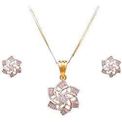 Sitashi 18 K Gold Plated American Diamond and Crystal Fashion Jewelry Floral Design Pendant Set for Girls and Women