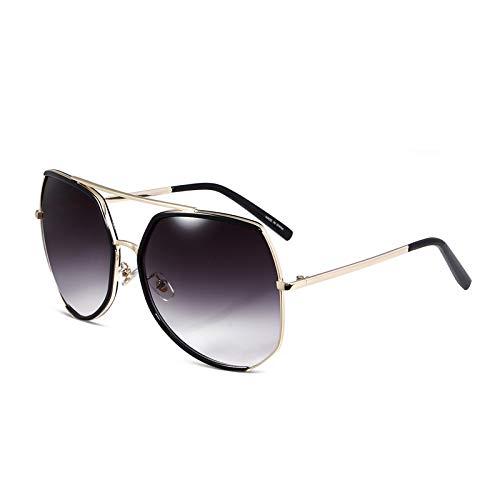 SUNGLASSES Neue große Rahmen Sonnenbrille weibliche Flut Persönlichkeit Sonnenbrille Lange Runde Gesicht Sterne Modelle polarisierte Gläser (Farbe : SCHWARZ)
