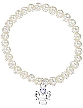 Jo for Girls Kinder-Armband925 Zirkonia Grau Rundschliff China-Zuchtperle Weiß 16.5 cm - CBJUNwp/L
