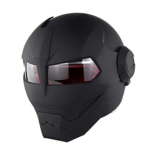 Motorrad-Helm Soman515 Iron Man Full Helmet Retro Style Harley Adult Riding Safety Men and Women Helmet (shiny Black/Matte Black),MatteBlack,M (Motorrad Man Iron Helm)