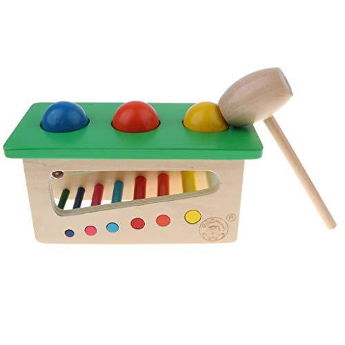 B Blesiya Juguete Montessori de Bola de Golpe con Martillo Madera Juego para Desarrollo de Inteligencia de Niños