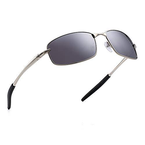 JIM HALO Polarisiert Fahren Sonnenbrille Rechteckig Kurve Wickeln Metall Federscharnier Herren(Silber/Polarisierter Spiegel Silber)