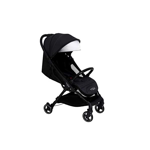 Tutti Bambini Momi Stroller Pushchair Suitable from Birth to 22kg Lightweight Compact One Hand Fold System in Black/Liquorice Tutti Bambini SIMPLE ONE HANDED FOLD - Easily and quickly folded with one hand making life simpler whilst you're with your child. LIGHTWEIGHT STURDY - Compact strong frame that is free standing once folded up.