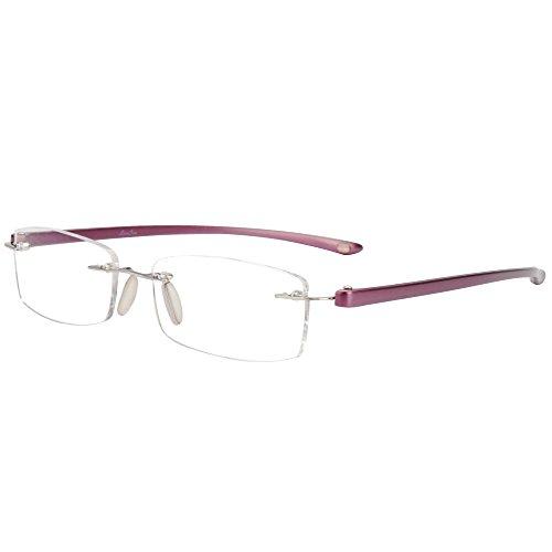 Preisvergleich Produktbild LianSan Rimless reading glasses men fashion women's frameless readers glasses reading eyeglasses LMO-017 (purple,  +1.50) by LianSan