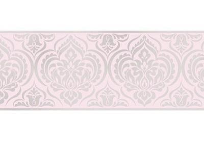 Fine Decor–Glitzer–Damast–dlb50142–Bordüre Pink/Silver