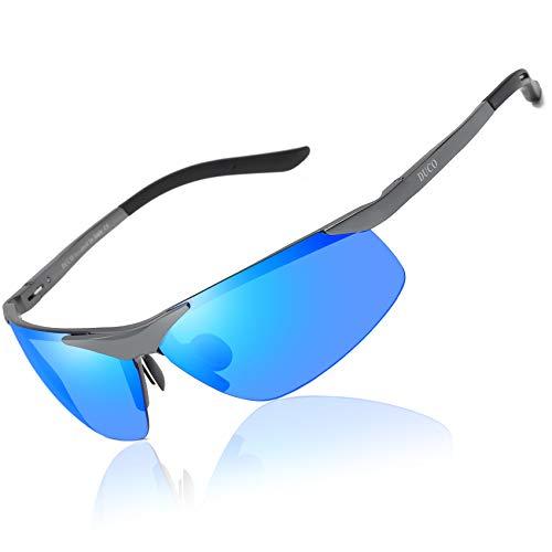 Occhiali da sole duco sport style polarizzati mens driver glasses 6806s (gunmetal-blu)
