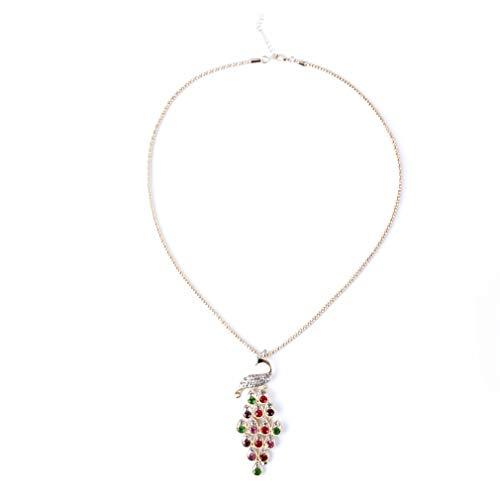 HYhy Pfau Lange Halskette ethnischen Stil tibetischen Halskette bunten Kristall Anhänger Pullover Kette