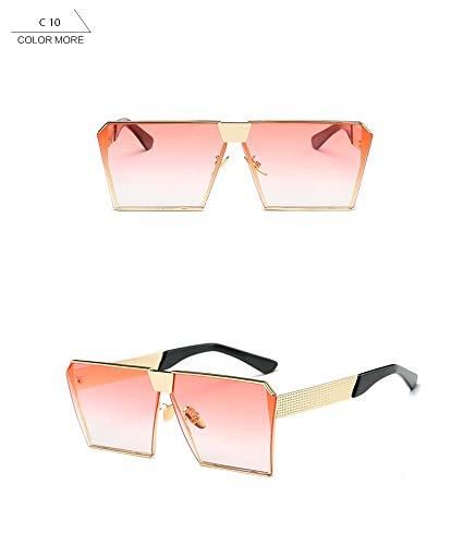 Wang-RX Vintage Oversized Square Rimless Sunglasses Women Men Mirror Flat Top Big Glasses Brand Designer Sun Glasses For Female